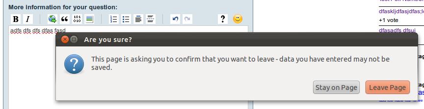 Confirm dialogue when leaving text in textarea? [Plugin