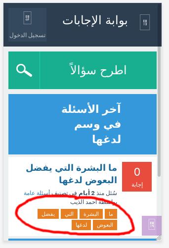 mobile view screenshot of example URI