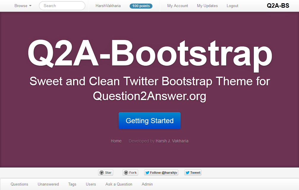 Q2A-Bootstrap Theme View by Harsh Vakharia